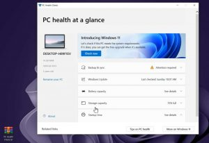 Pc health check app check pc is compatible with windows 11